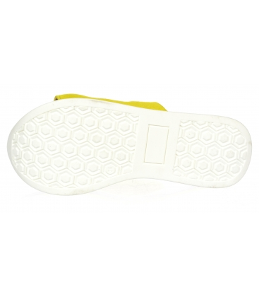 Žluté kožené pantofle na barevné MARLENE podešvi DSL3000
