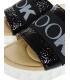 Černé lesklé kožené pantofle s gumou DSL3000