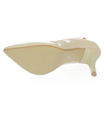 Béžové lakované elegantní kožené lodičky 861
