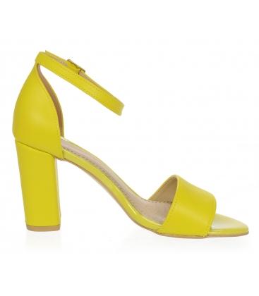 Žluté kožené dámské sandály DSA2050