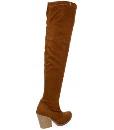 hnědé kožené western kozačky s vysokou holenní částí nad kolena K2054