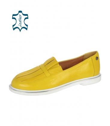 Žluté kožené slip on tenisky s ozdobou D-605