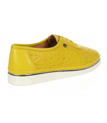 Žluté kožené tenisky s potiskem D-505