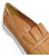 Hnedé kožené slip on tenisky s ozdobou D-605