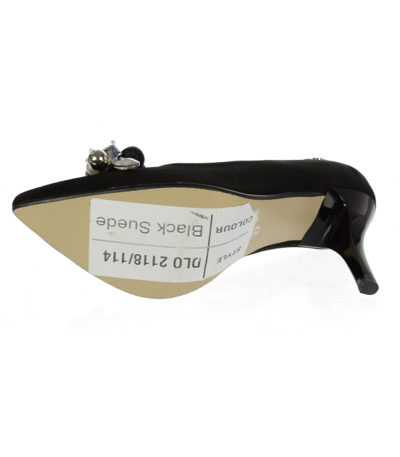 Černé kožené lodičky s ozdobou DLO2118-114