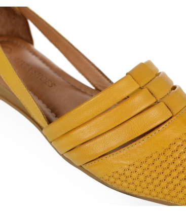 Žluté kožené otevřené baleríny 14-603