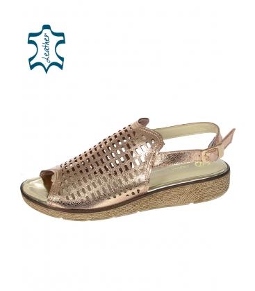 Měděné perforované kožené sandály K2088