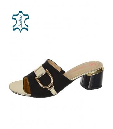 Béžové pantofle s hnědou ozdobou na podpatku DSL2152