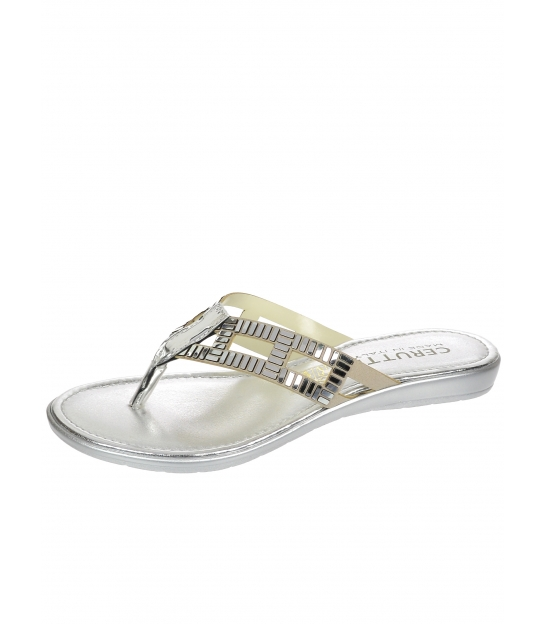 Stříbrné pantofle s nazouvání přes prst - 20615 - Cerutti