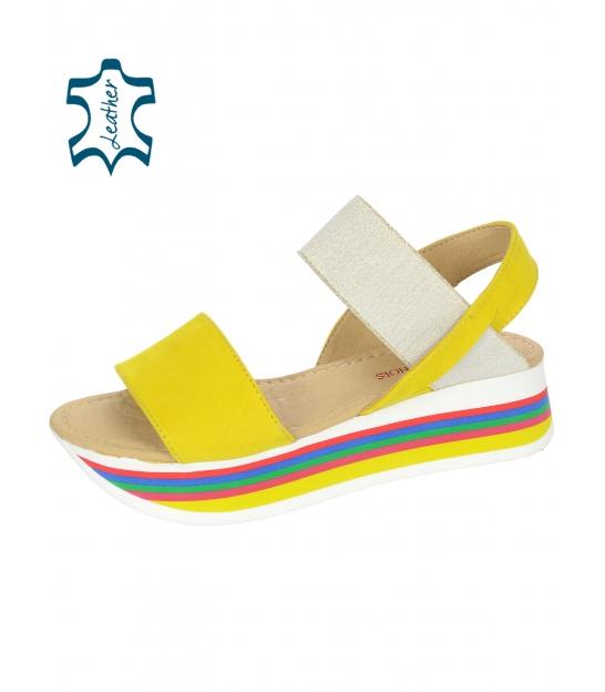 Žluté sandály na barevné podešvi DSA3081