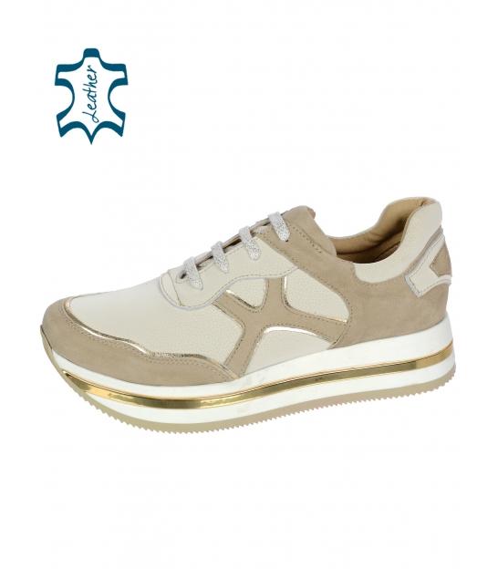 Béžovo-zlaté tenisky se vzorem podešvi KARLA DTE3300