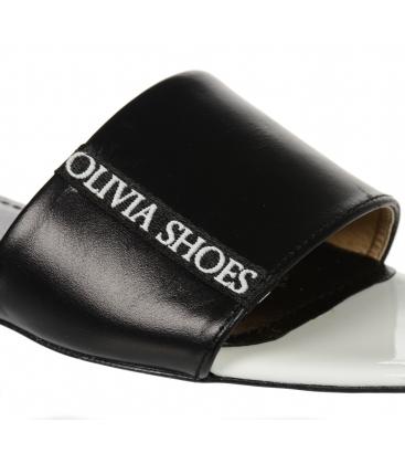 Bílo černé jednosuché pantofle s lemem Olivia DSL 2218