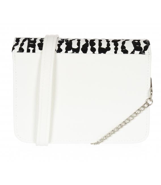 Bílá kabelka s černým kroko vzorem BOBI