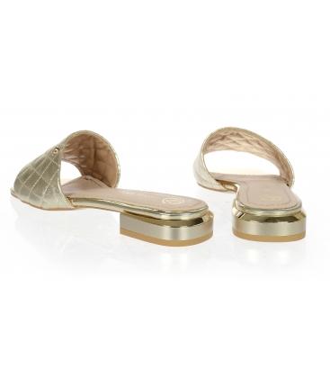 Zlaté pantofle s jemným prošívaným svrškem DSL2206