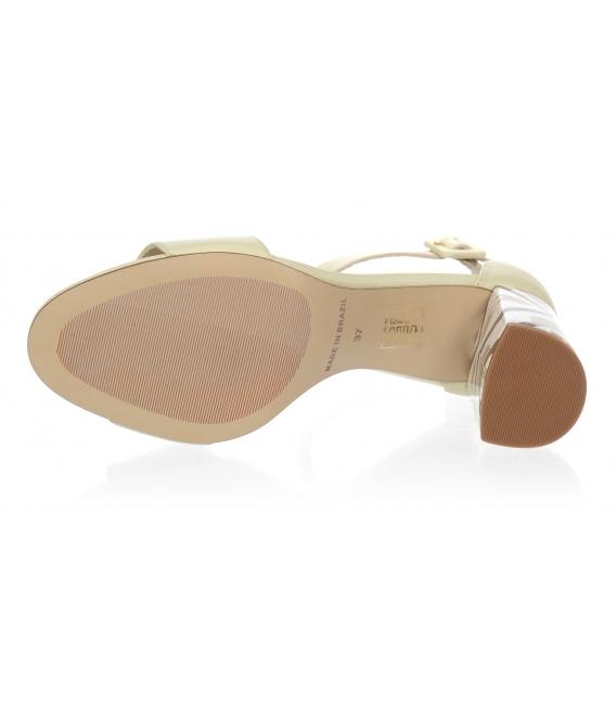 Béžové sandály s barevným podpatkem 10210-203-649