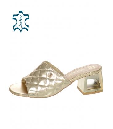 Zlaté prošívané pantofle na kouřovém podpatku DSL059-1753