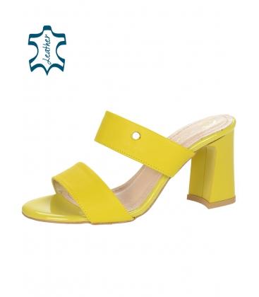 Žluté elegantní pantofle na vysokém podpatku DSL2259