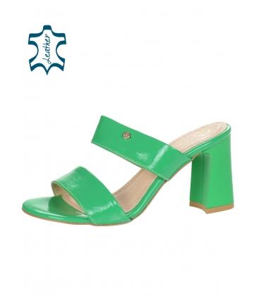 Zelené elegantní pantofle na vysokém podpatku DSL2259