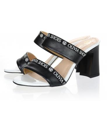 Bílo černé elegantní pantofle na vysokém podpatku DSL2259