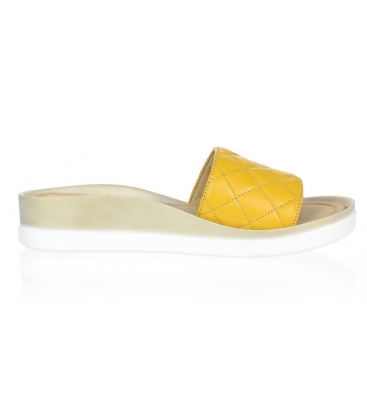 Žluté prošívané kožené pantofle na tvarované podešvi DSL540 yellow lico