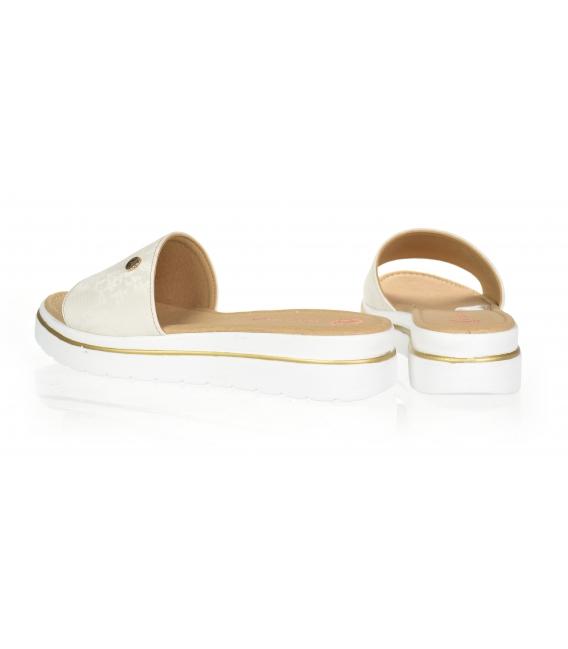 Béžové pantofle s jemným hadím vzorem DSL3400
