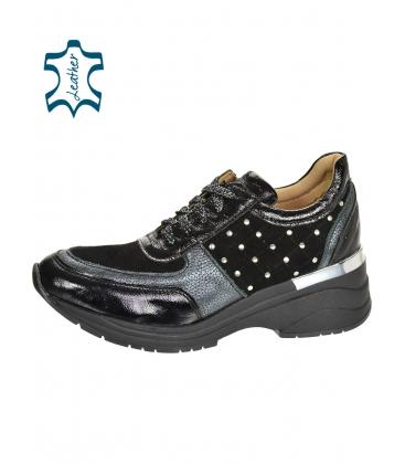 Černo-šedé stylové tenisky s ozdobnými aplikacemi na podešvi TamiraDTE3304