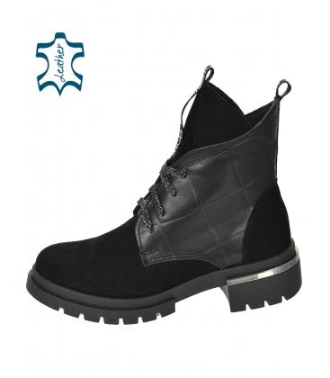 Černé kotníkové boty z broušené kůže DKO3404
