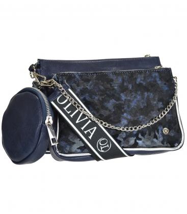Modrá dvoukomorová crossbody kabelka s maskáčovým vzorem ANITA