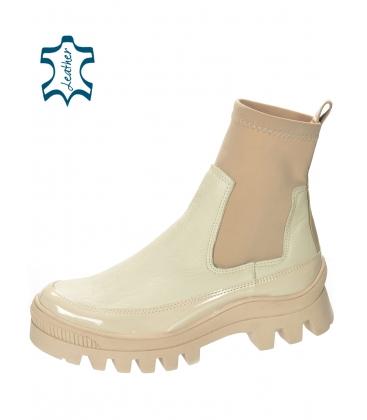 Béžové kotníkové kozačky s elastickým materiálem DKO2276