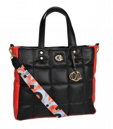 Velká černo-červená prošívaná kabelka se stylovým barevným páskem ANDREA