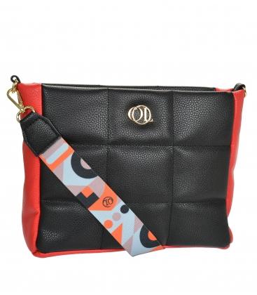 Černo-červená prošívaná kabelka se stylovým páskem WANDA