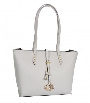 Šedá elegantní kabelka s dlouhými ručkami Laura