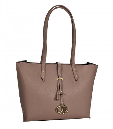 hnědo šedá elegantní kabelka s dlouhými ručkami Laura
