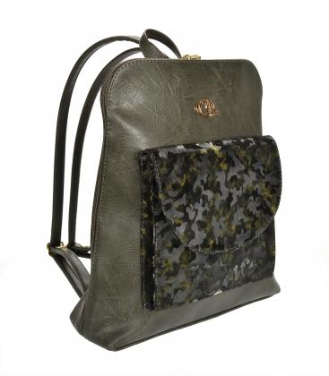 Zelený batoh s maskáčovým přední kapsou Lucia