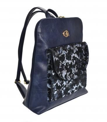 Modrý batoh s maskáčovým přední kapsou Lucia