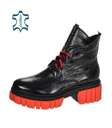 Černo-červené lakované kožené workery DKO3023