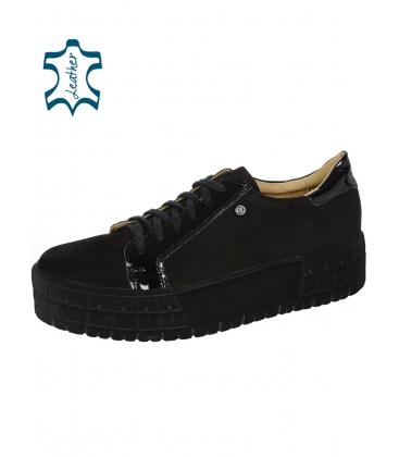 Černé tenisky z broušené kůže s lakovaným prvkem na černé podešvi HANZA DTE089