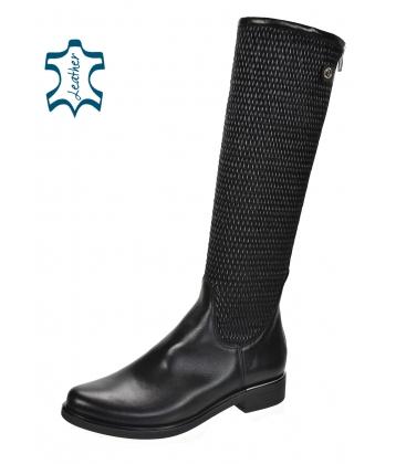Černé nízké kozačky s pleteným vzorem na Sáře 886