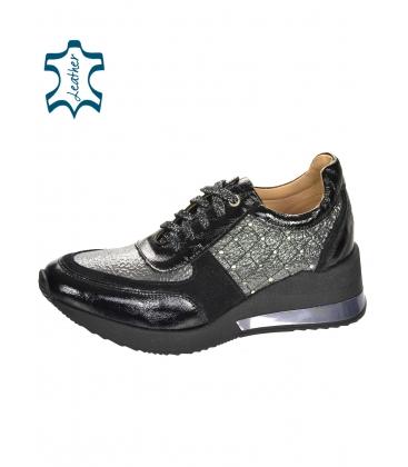 Černo-šedé stylové tenisky s ozdobnými aplikacemi na podešvi Kamila DTE3304