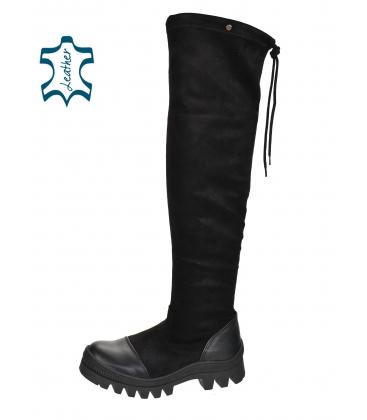 Černé kozačky s koženou špičkou a holenní částí nad kolena DCI2182