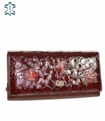 Dámska lakovaná bordová peňaženka s čiernym kvetinovým vzorom GROSSO