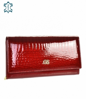 Dámska červená lakovaná peňaženka so vzorom GROSSO