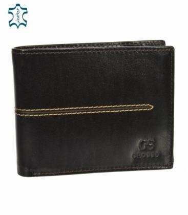 Pánska kožená tmavohnedá peňaženka s prešívaním GROSSO TMS-51R-033choco brown