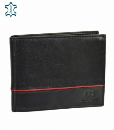 Pánska kožená čierna peňaženka s červeným pásikom GROSSO TM-100R-033black/red