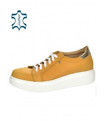 Žluté kožené tenisky na podešvi DESA DTE089